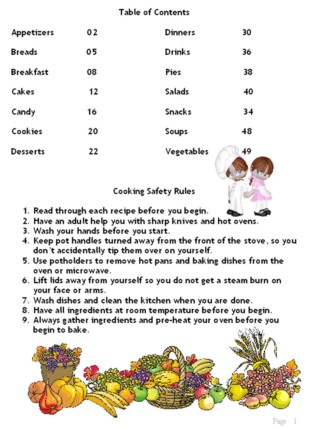 Sample Page for Volume 2: Kids in the Kitchen Cookbook